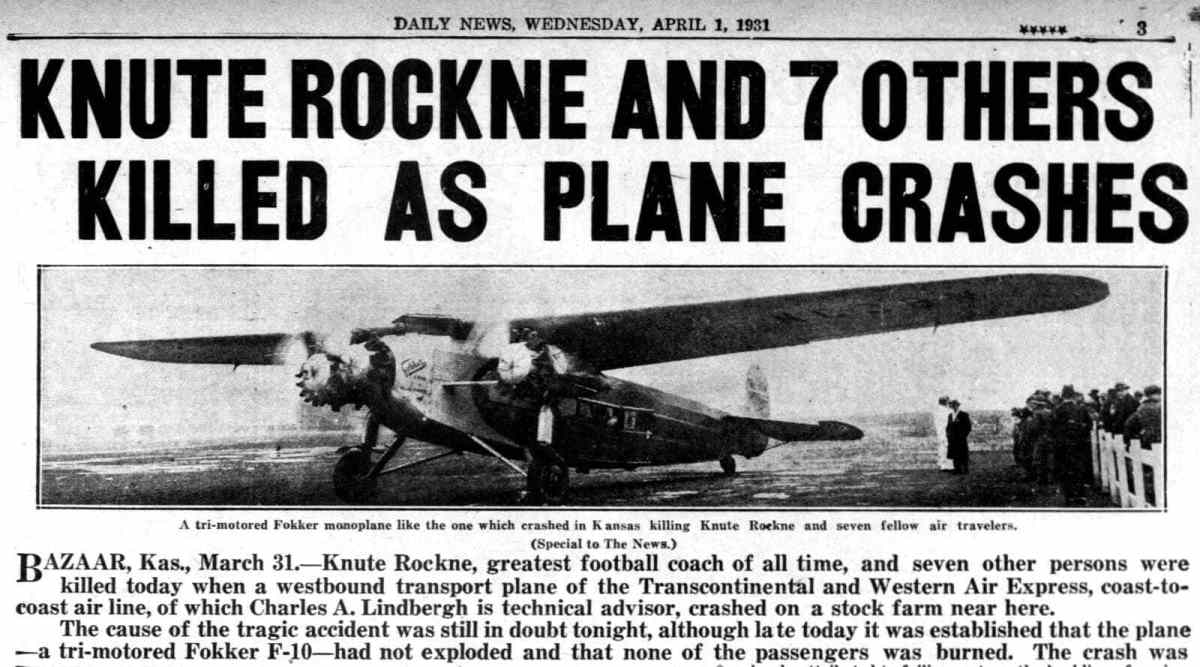 Knute Rockne's TWA airplane crashes - 8 killed (1931)